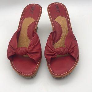 Women's Born red Leather platform block heels 8